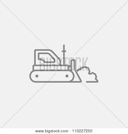 Bulldozer line icon for web, mobile and infographics. Vector dark grey icon isolated on light grey background.