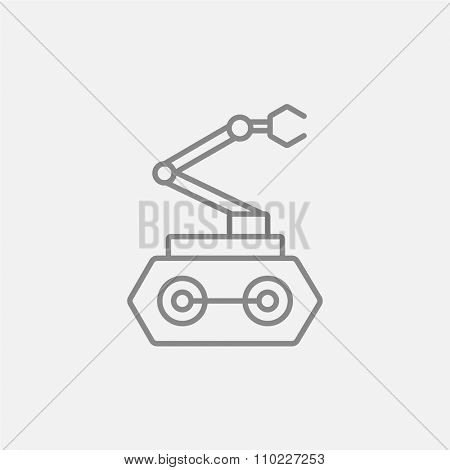 Industrial mechanical robot arm line icon for web, mobile and infographics. Vector dark grey icon isolated on light grey background.