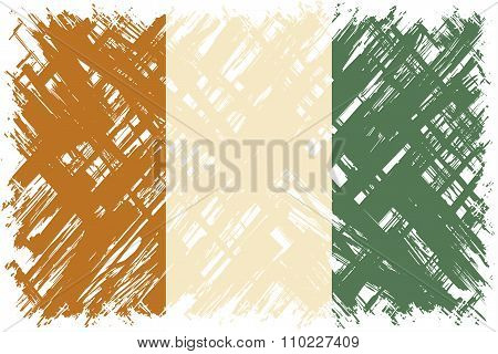 Cote d Ivoire grunge flag. Vector illustration.