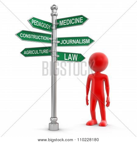 Man and Sign Directions (clipping path included)