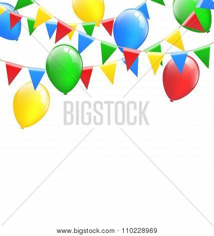 Multicolored bright buntings garlands with inflatable air balls