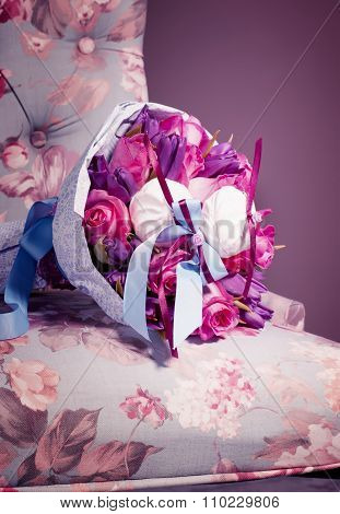 Bouquet Of Pink Roses, Tulips And Sweet Zephyr. Creative Concept