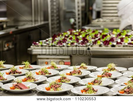 Appetizer Prep In Commercial Kitchen