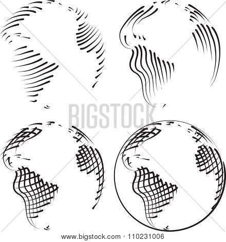Simple World Vector Etching Sketch