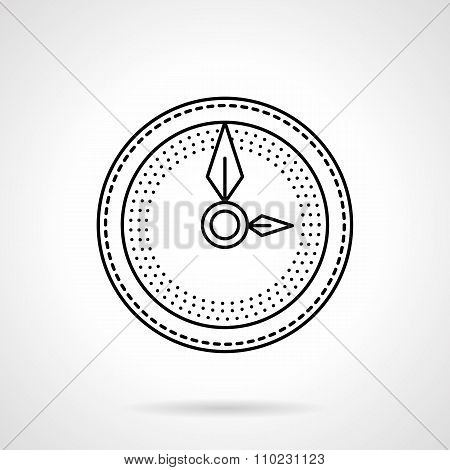 Wall clock flat line vector icon