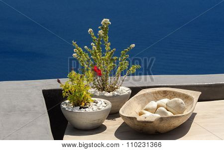 Outdoor Decoration In Oia Village, Santorini Island, Greece