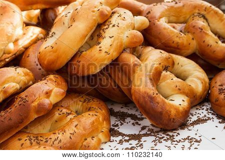 Freshly Baked Bread Rolls With Caraway Seeds