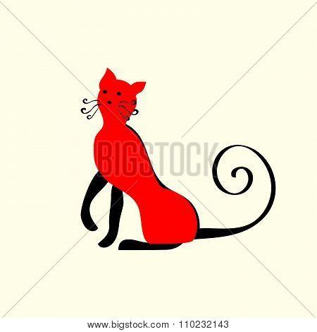 Elegant red cat ornament