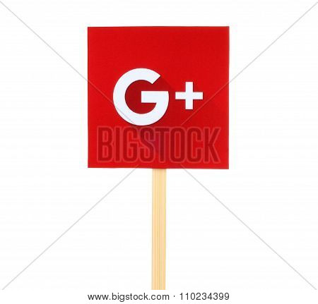 New Google Plus logo sign printed on paper