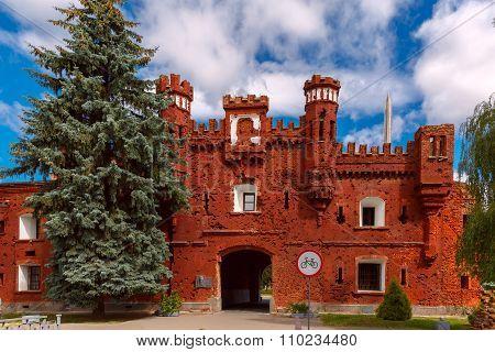 Kholm Gate of Brest Fortress at morning, Belarus