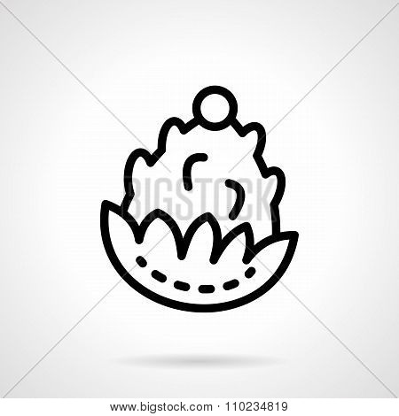 Pine cone black line vector icon
