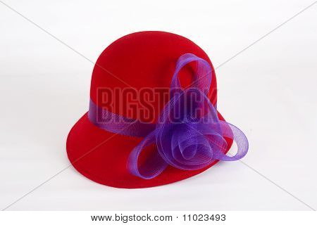 Red Felt Hat With Purple Ribbon