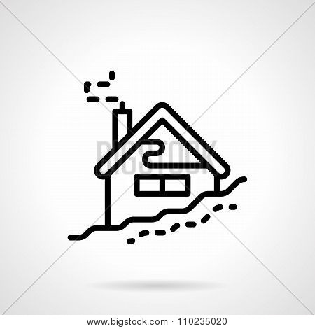House in winter black line vector icon