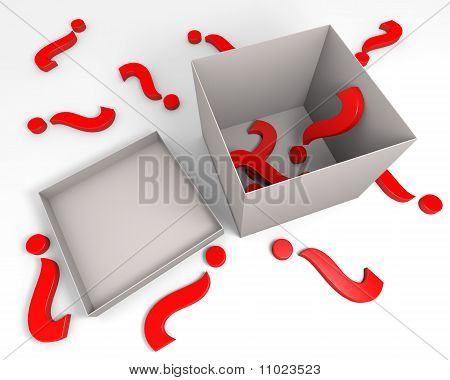 Question marks and box