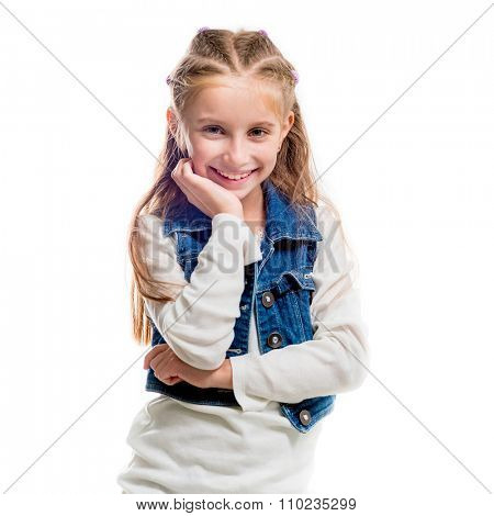 little girl  pointing upwards isolated on white background close-up