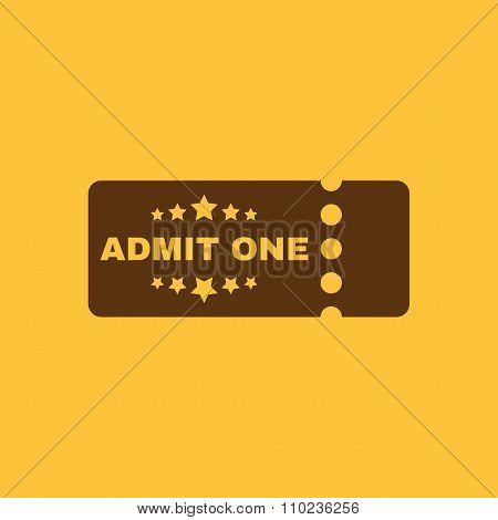 The ticket icon. Ticket symbol. Flat