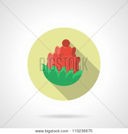 Red pine cone round flat color vector icon