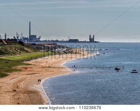 Offshore Harbor In Esbjerg Seen Form Hjerting
