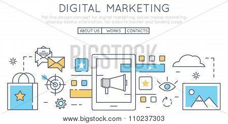 Flat Line Design Concept For Digital Marketing, Social Media Marketing, Sharing Media Information, F