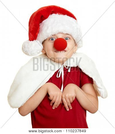 girl in santa hat with clown nose on white isolated