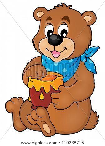 Bear with honey theme image 1 - eps10 vector illustration.