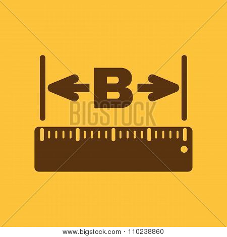 The width icon. Measurement and ruler symbol. Flat