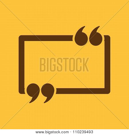 The Quotation Mark Speech Bubble icon. Quotes, citation, opinion symbol. Flat