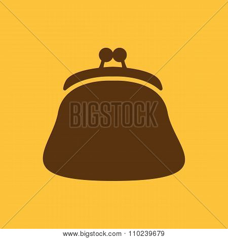 The purse icon. Wallet, pouch and money symbol. Flat