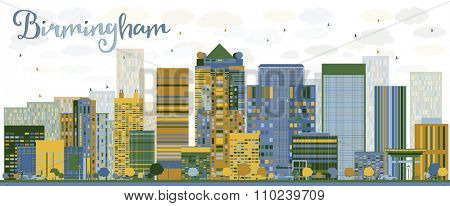 Abstract Birmingham (Alabama) Skyline with color Buildings. Business travel and tourism concept. Image for presentation, banner, placard and web site