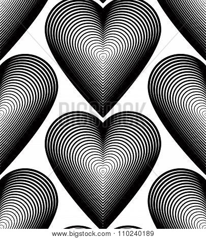 Continuous Vector Pattern With Black Graphic Lines, Decorative Abstract Background With Romantic Hea