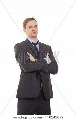 body language. man in business suit isolated white background. Training managers. sales agents gestu