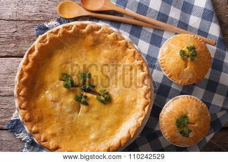 American Chicken Pot Pie Close Up On The Table. Horizontal Top View