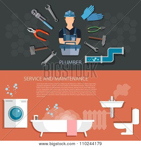 Plumbing Service Washing Machine Repair Cleaning And Sewer Pipes Plumbing Tool Banners
