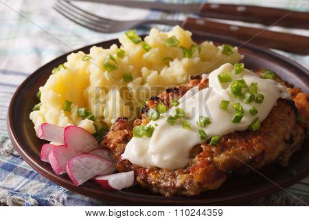 Fried Chicken Steak With Potato Garnish Close-up Horizontal