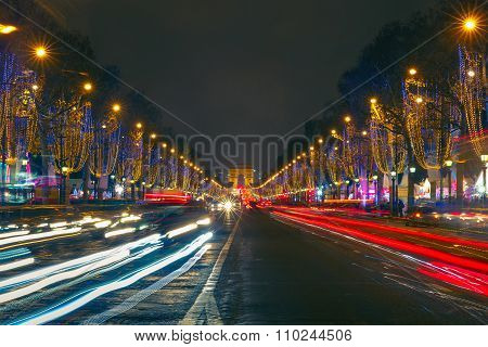 Christmas Champs Elysees and Arch of Triumph Paris at night