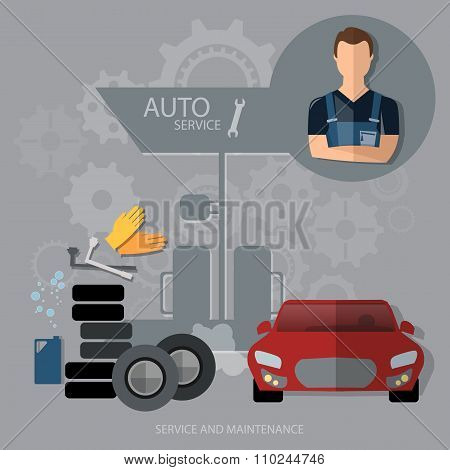 Auto Service Concept Car Diagnostics Tire Oil Change Professional Mechanic Car Repair