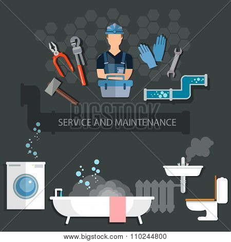 Professional Plumber Plumbing Tools Service And Maintenance