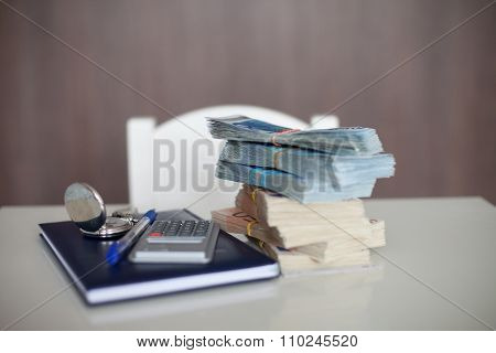Calculator With Diary, Euro Bills And Pen