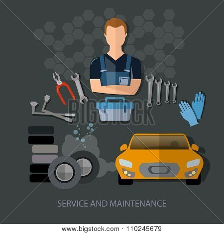 Auto Service Auto Repair Auto Mechanic Tire Service Car Diagnostics Vector