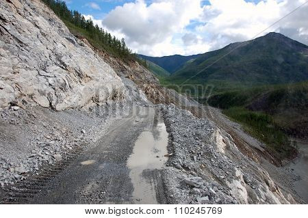 Mountain Gravel Road At Kolyma State Highway