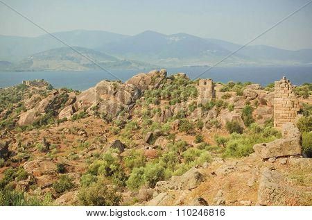 Landscape With Ruins Of Byzantine Town Over The Lake, Nature Reserve Of Turkey With Olive Trees And