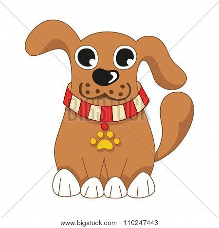 Cartoon puppy, vector illustration of cute dog wearing a red collar