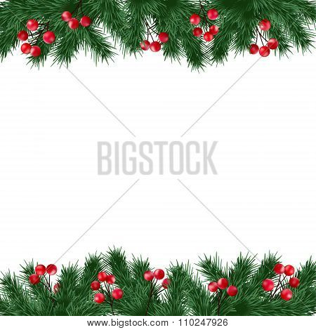 Christmas Greeting Card, Invitation With Fir Tree Branches And Holly Berries Border On White Backgro