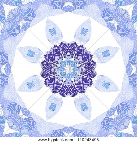Purple and blue circle lace ornament snowflake