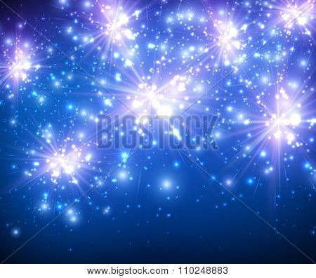 Festive luminous blue background. Vector paper Illustration.