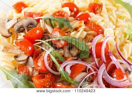 Pasta With Mushrooms, Cherry Tomatoes And Tomato Sauce, Italian Food. Closeup