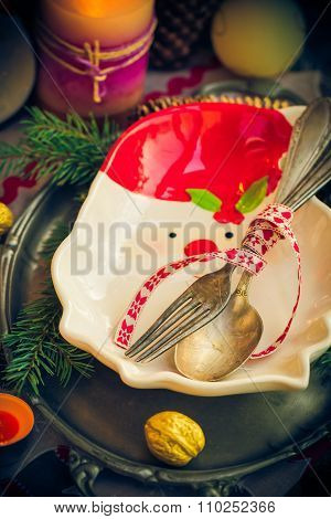 Festively Decorated Christmas Table Tableware Candles Mood