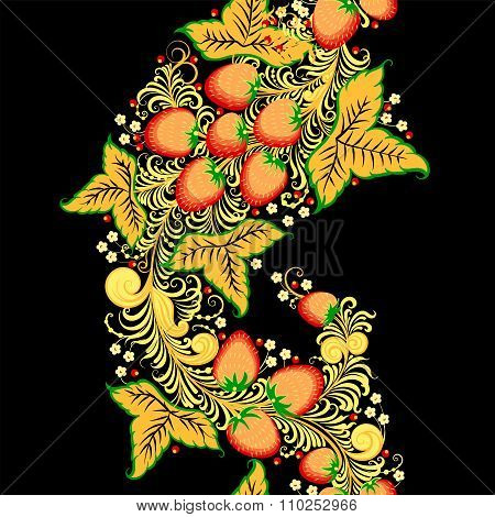 Traditional Russian vector seamless pattern in khokhloma style with strawberry