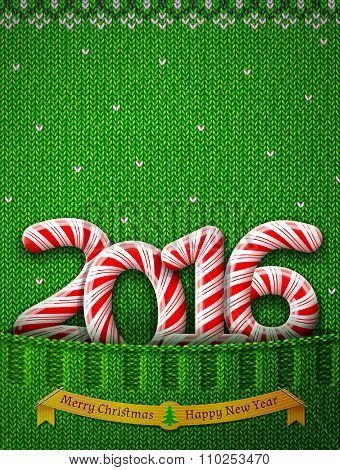New Year 2016 In Shape Of Candy Stick In Knitted Pocket
