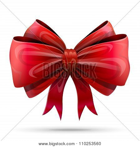 Red Bowknot Isolated On White Background